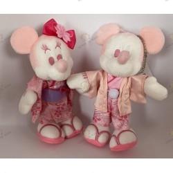 Duo of Peluches mickey and minnie in sakura kimono Hakama