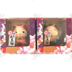 Two Maneki Neko pink piggy bank - blue porcelain