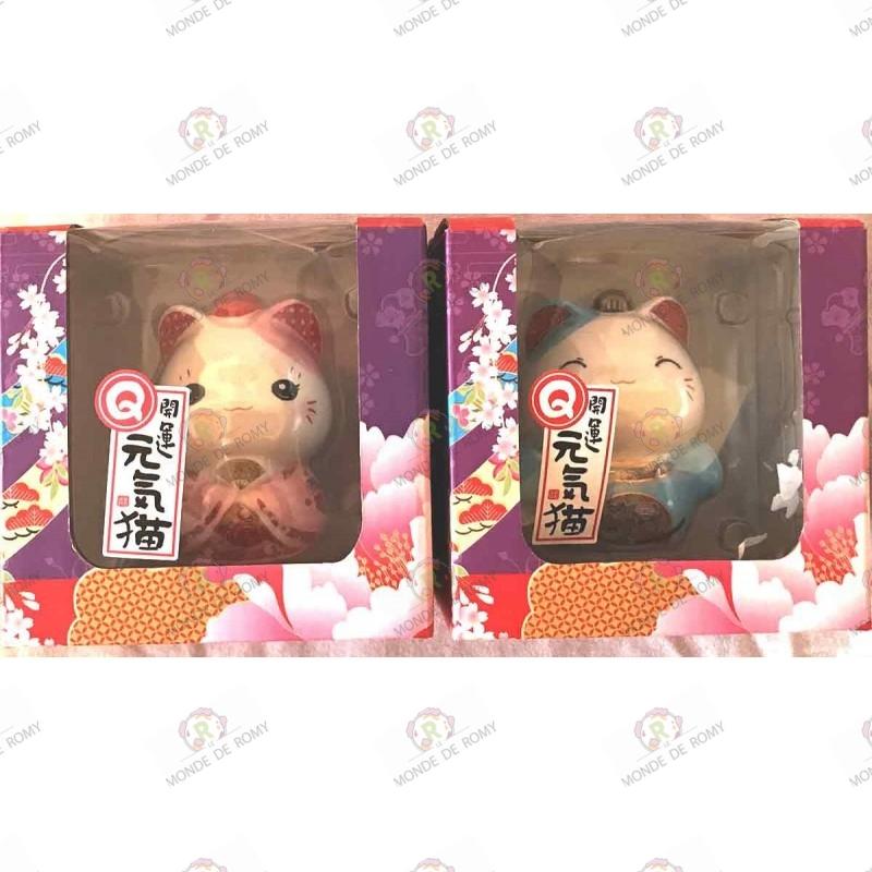 deux Maneki Neko tirelires rose & bleu en porcelaine