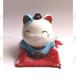 Maneki Neko tirelire bleu en porcelaine