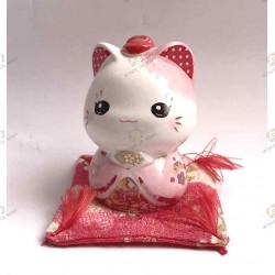Maneki Neko tirelire rose en porcelaine