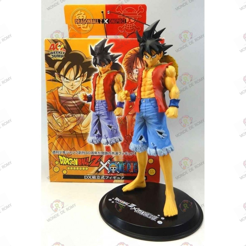 Son Goku de Dragon Ball Z en habit de Monkey D Luffy de One Piece avec boite