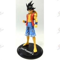 Son Goku de Dragon Ball Z en habit de Monkey D Luffy de One Piece face