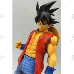 Son Goku de Dragon Ball Z en habit de Monkey D Luffy de One Piece face gros plan