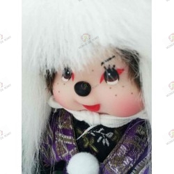 Monchhichi Kiki Kabuki Cheveux Blancs gros plan