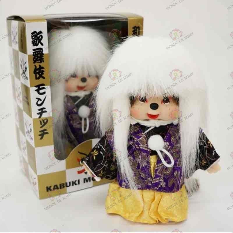Monchhichi Kiki Kabuki Cheveux Blancs