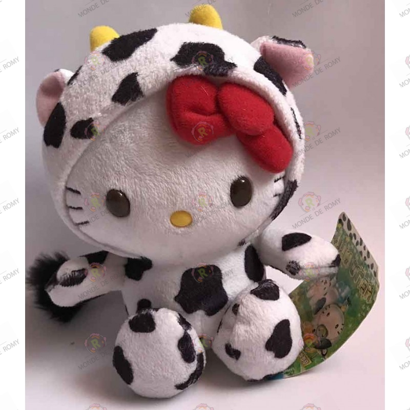 Peluche Hello Kitty en costume de vache